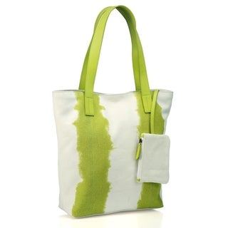 Phive Rivers Leather Green/ White Tote Bag (Italy)