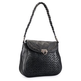 Phive Rivers Black Leather Cut-out Glitter Shoulder Bag (Italy)