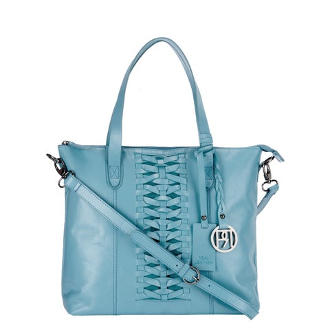 Handmade Phive Rivers Light Blue Leather Tote Bag (Italy) - One size