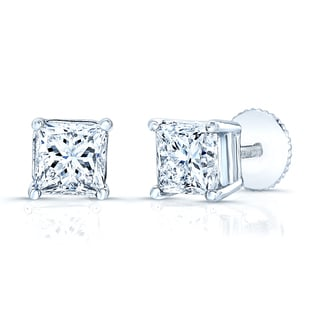 Estie G 14k White Gold 1ct Princess-cut Diamond Screw-back Stud Earrings (H-I, VS1-VS2)