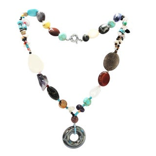 De Buman Natural Multi-gemstone Handcrafted Necklace