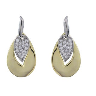 Luxiro Sterling Silver Two-tone Cubic Zirconia Cutout Teardrop Dangle Earrings