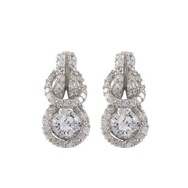 Luxiro Sterling Silver Cubic Zirconia Love Knot Earrings