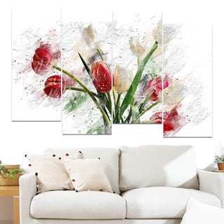 Design Art 'Red and White Tulips' Canvas Art Print