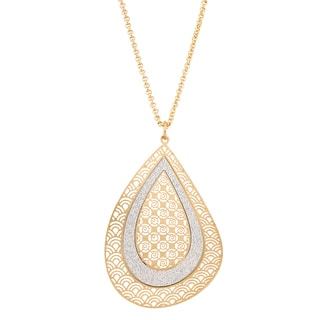 Isla Simone Concave Crystalized Tear Drop Pendant Necklace
