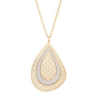 Isla Simone Concave Crystalized Tear Drop Pendant Necklace