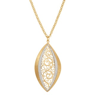 Isla Simone Silver Tone Concave Paisley Eyelet Elliptical Pendant Necklace