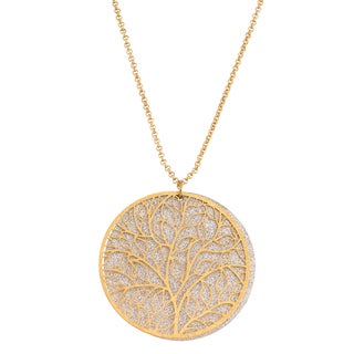 Isla Simone Tree-of-Life Circle Pendant Necklace