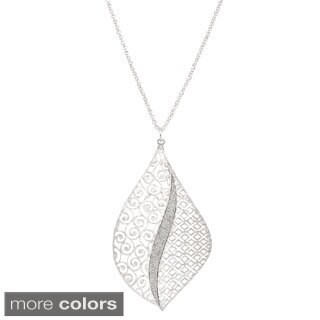 Isla Simone Concave Swirl & Square Etched Elliptical Pendant Necklace