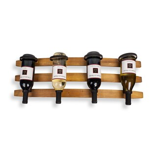 Danya B Horizontal Triple Stave Wood and Iron Rustic 4 Bottle Wall Mount Wine Holder