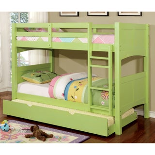 Furniture of America Colorpop Twin over Full Modern 2-piece Bunk Bed with Trundle Set (Option: Twin/Full - Keylime Green)