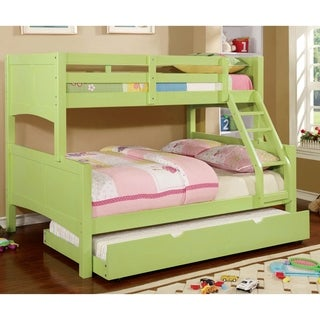 Furniture of America Colorpop Twin Over Full Bunk Bed with Trundle Set