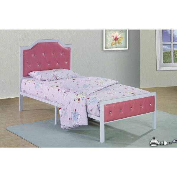 Metal frame upholstered bed white pink free shipping for White upholstered bed frame