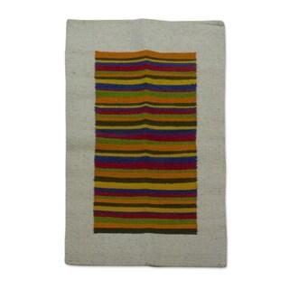 Handmade Wool 'Joyous Color' Rug 2.5x4 (Mexico)