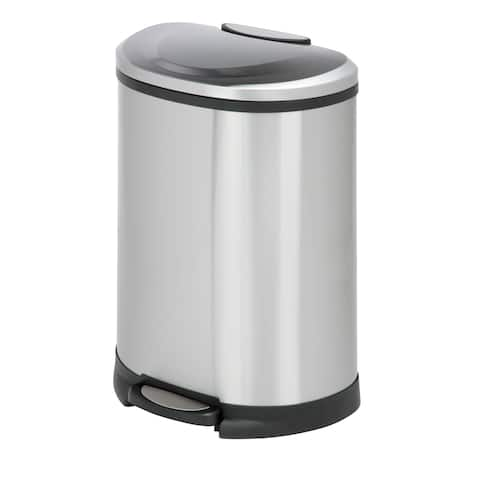 Honey-can-do 50-liter Stainless Steel Half Moon Step Can