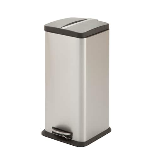 Honey-can-do 30-liter Stainless Steel Square Trash Can