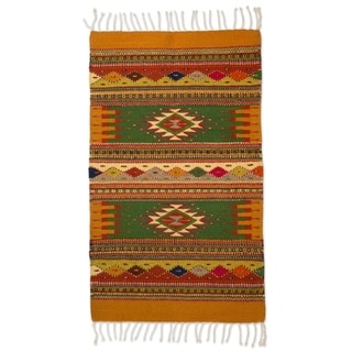 Handcrafted Wool 'Golden Meadows' Zapotec Rug 2x3.5 (Mexico)