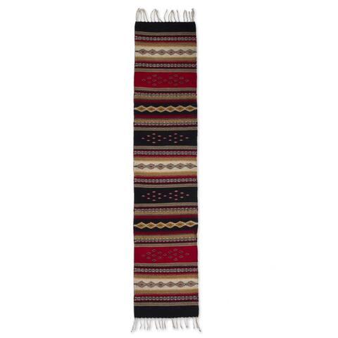 Handmade Wool 'Diamond Path' Zapotec Runner (Mexico) - 2' x 6' Runner - 2' x 6' Runner