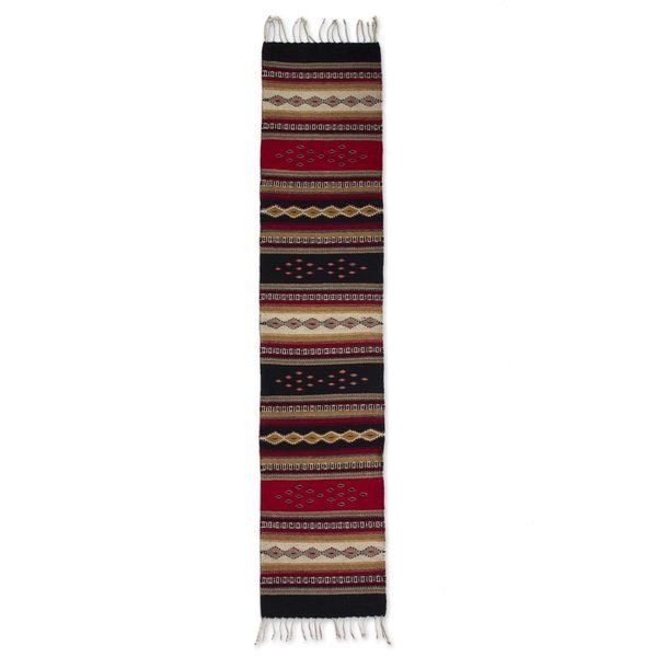 Handmade Wool 'Diamond Path' Zapotec Runner (Mexico) - 2' x 6' Runner