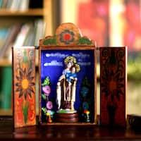 Handmade Ceramic 'Our Lady of Mount Carmel' Diorama Sculpture (Peru)