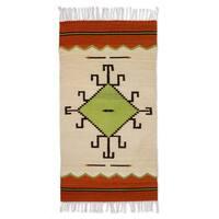 Handmade Spider Sun Zapotec Wool Rug 2.5 x 5 Ft. (Mexico) - 2.6' x 5'