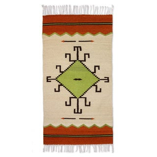 Handmade Wool 'Spider Sun' Zapotec Rug 2.5x5 (Mexico)