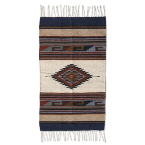 Handmade Desert Natural Dyes Wool Zapotec Accent Area Rug 2 x 3 Ft. (Mexico) - 2' X 3'