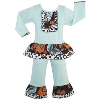 AnnLoren Boutique Girls' Fall Jungle Floral/ Leopard 2-piece Outfit