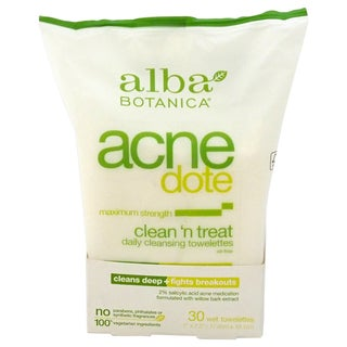 Alba Botanica Acnedote Clean 'n Treat Daily Cleansing Towelettes (30 Count)