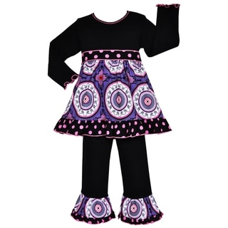 AnnLoren Girls' Designer Purple Medallion and Dots 2-piece Dress/ Pants Outfit