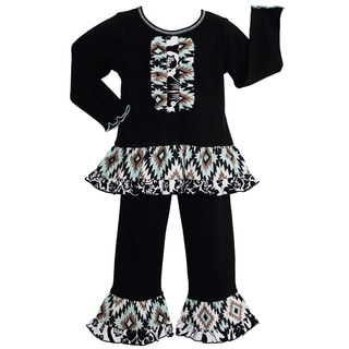 AnnLoren Girls Chic Black Aztec Lattice Tuxedo Style Outfit