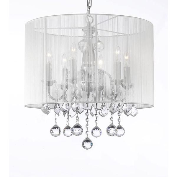 Gallery chandelier 6 lights with crystals and large white shade gallery chandelier 6 lights with crystals and large white shade mozeypictures Images