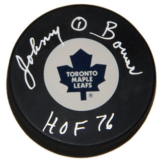NHL Toronto Maple Leafs Johnny Bower Autographed Hockey Puck