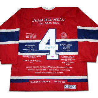 NHL Montreal Canadiens Jean Beliveau Career Jersey