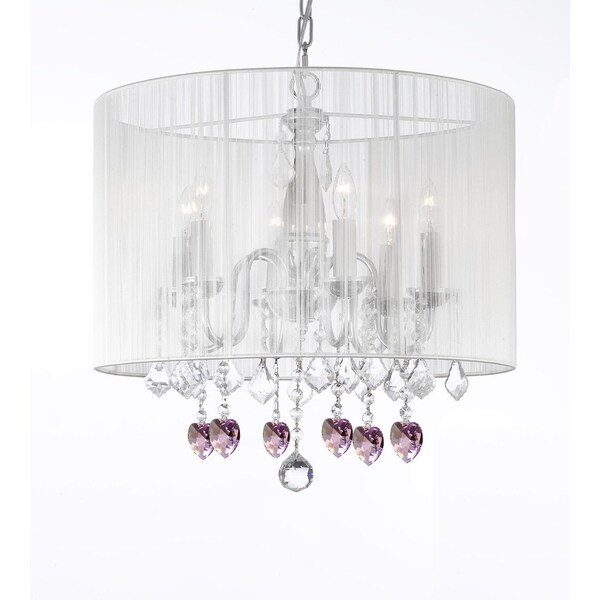 Gallery Chandelier 6 Lights With Crystals Large White