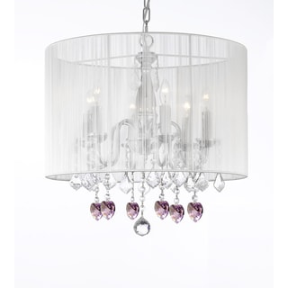 Gallery Chandelier 6 Lights with Crystals Large White Shade and Pink Crystal Hearts
