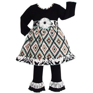 AnnLoren Girls Aztec Lattice & Lace Boutique Dress & Pants
