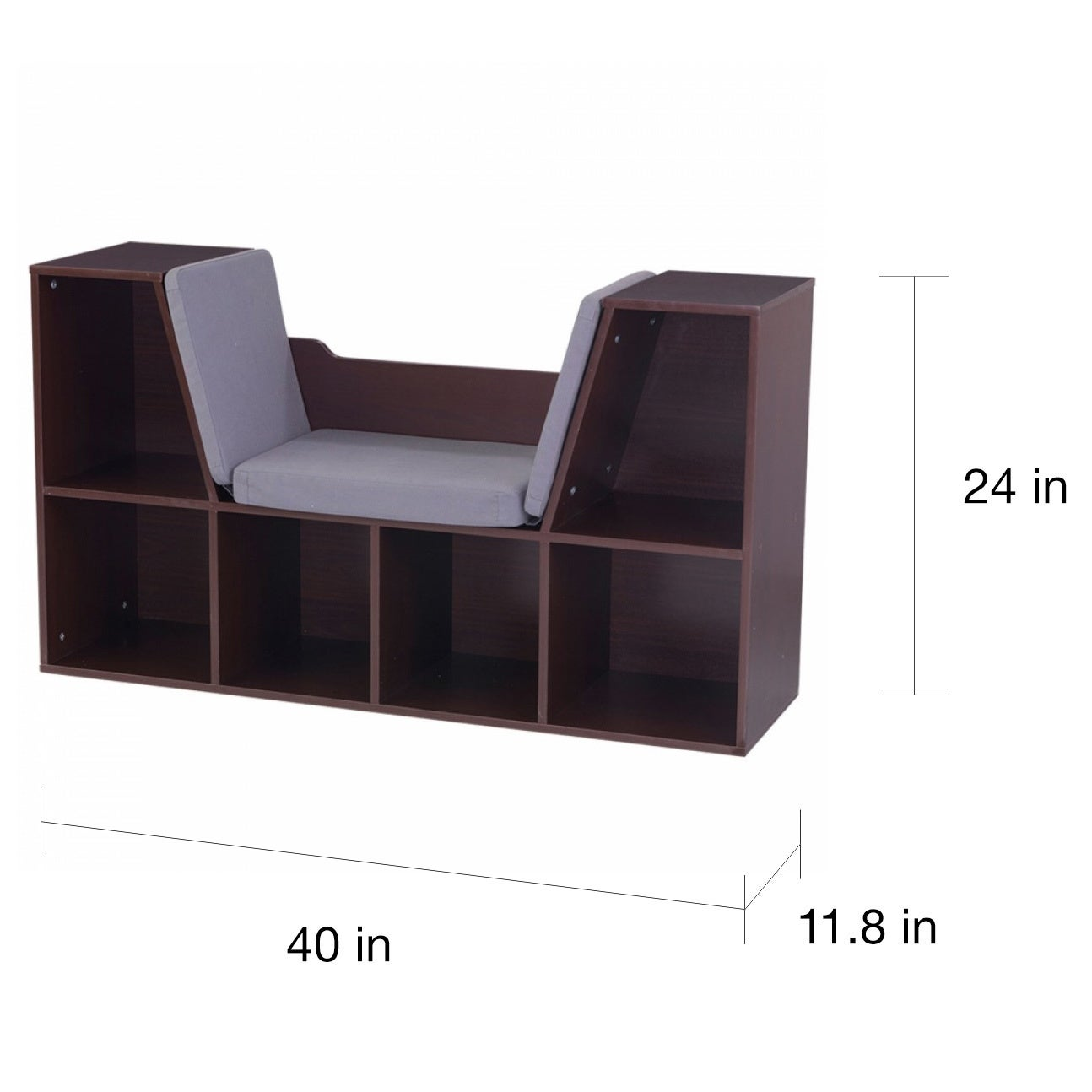Espresso Brown Kids Bookcase Storage With Reading Nook Grey Cushion Bench Seat 706943142318 Ebay
