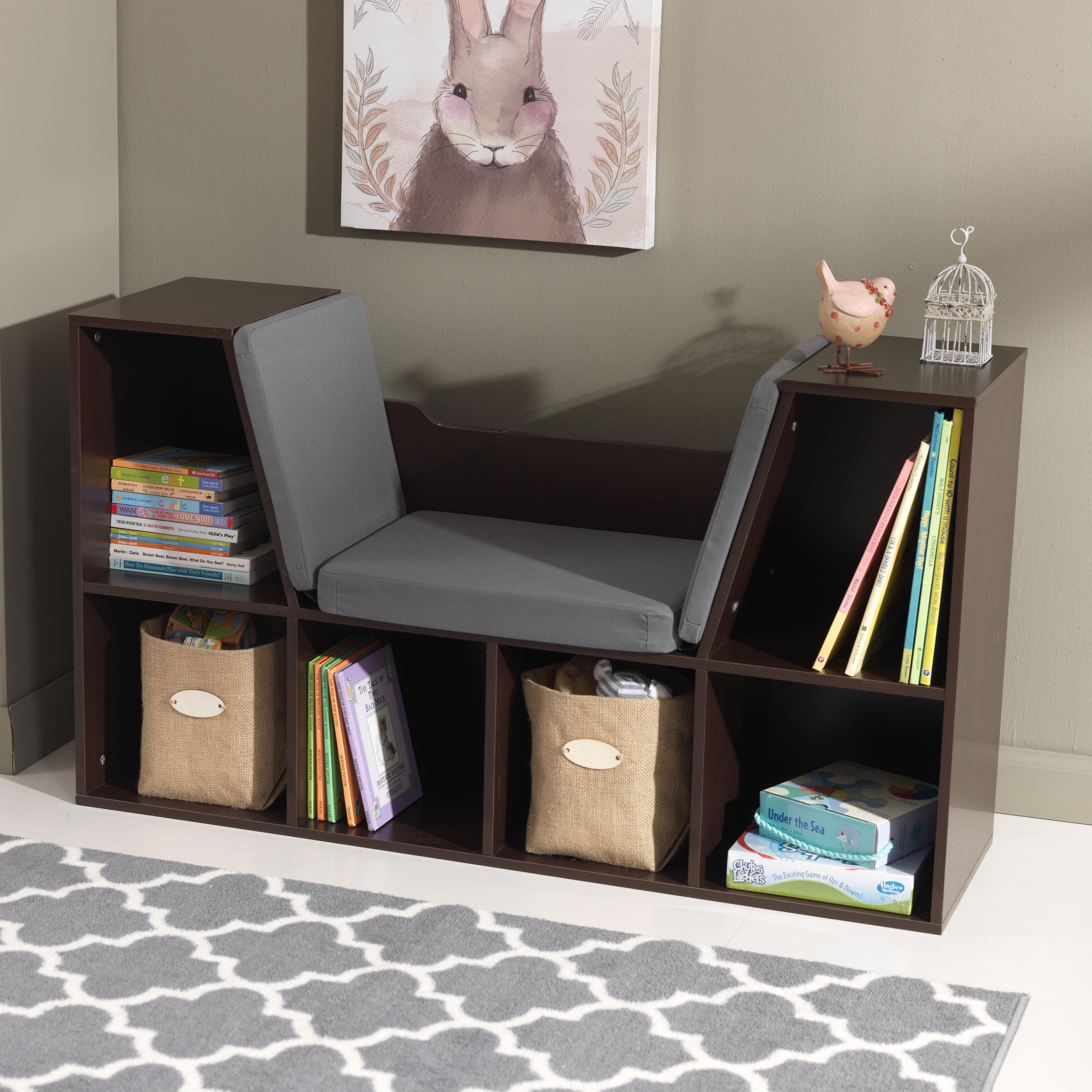 Espresso Brown Kids Bookcase Storage With Reading Nook Grey Cushion Bench Seat