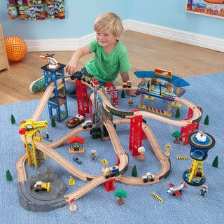 KidKraft Boys Super Highway Multicolored Plastic and Wood Train Set