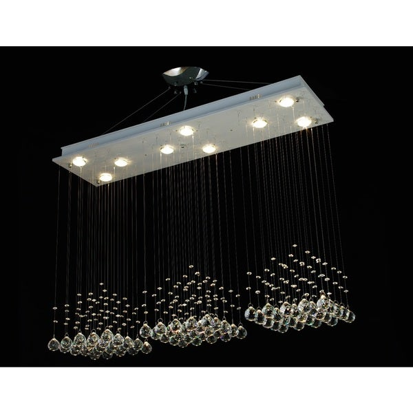 Modern 9 Light Crystal Raindrop Chandelier With 40mm Faceted