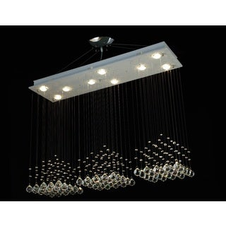 Modern 9-Light Crystal Raindrop Chandelier with 40mm Faceted Crystal Balls