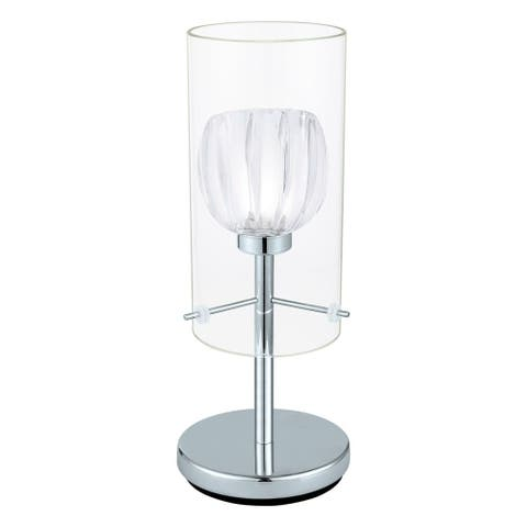 Eglo Ricabo - 1 x 40 W Table Lamp w/Chrome Finish & Satin & Clear Glass