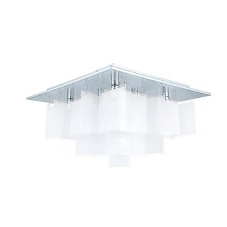 Eglo Condrata 1 - 8 x 25W Ceiling Light w/Chrome Finish & Satin Glass