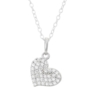 Junior Jewels Sterling Silver Cubic Zirconia Pave Heart Necklace