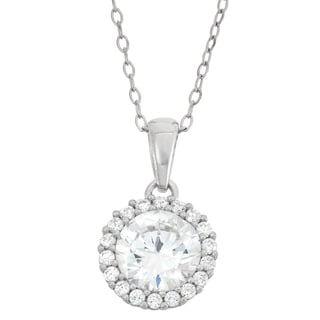 Gioelli Sterling Silver 8mm Prong Cubic Zirconia Necklace