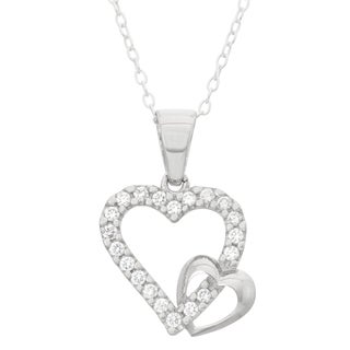 Junior Jewels Sterling Silver Cubic Zirconia True Love Hearts Necklace