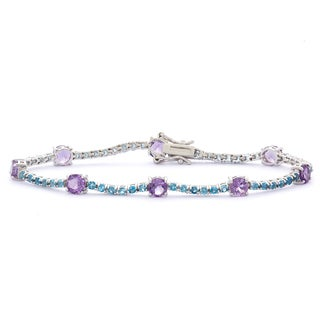 Gioelli Sterling Silver Amethyst and London Blue Topaz Bracelet