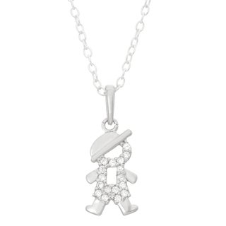Junior Jewels Sterling Silver Cubic Zirconia Baseball Cap Necklace