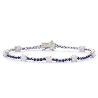 Gioelli Sterling Silver Opal and Created Sapphire Bracelet